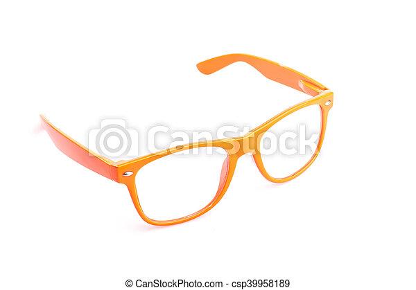 oko, do góry, odizolowany, zamknięcie, biały, okulary - csp39958189
