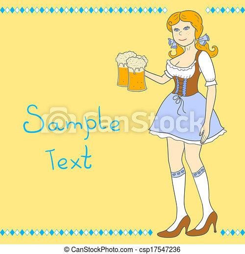 oktoberfest, 啤酒, 女孩, 慶祝 - csp17547236