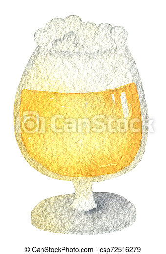 Oktoberfest amber beer in a glass on a short leg with a cap of foam. Hand drawn watercolor painting on white background clip art graphic elements for creative design and printable decor. - csp72516279