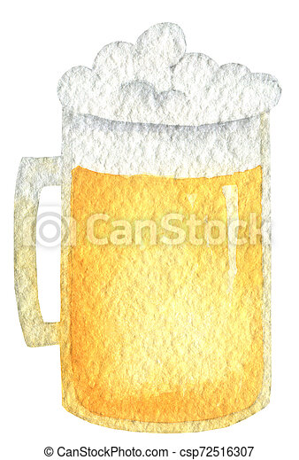 Oktoberfest amber beer in a mug with a lid of foam. Hand drawn watercolor painting on white background clip art graphic elements for creative design and printable decor. - csp72516307