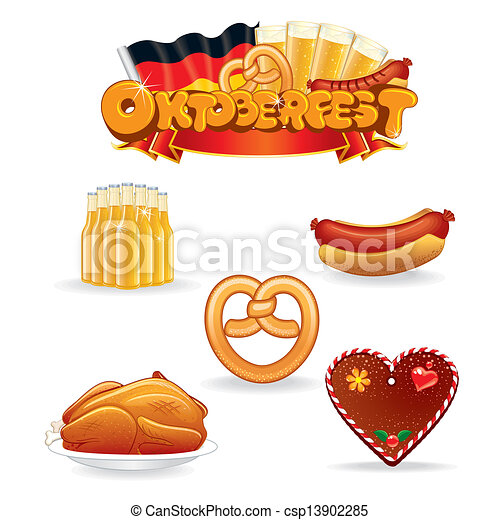 oktoberfest, art, agrafe, nourriture, boisson, icons., vecteur - csp13902285