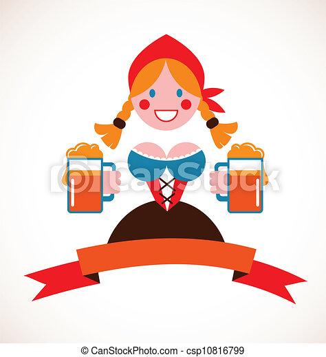 Oktoberfest background - girl with beer - csp10816799