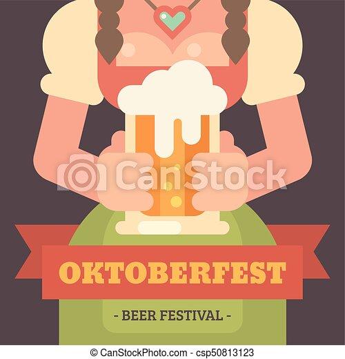 Oktoberfest Banner Fest Plakat Dirndl Auf Wohnung Bier Abbildung Halten Ende Mug Mï½dchen Kleiden