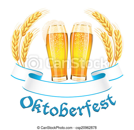 Oktoberfest banner with two beer glass and wheat ears - csp20962878