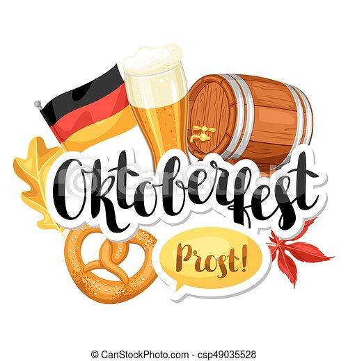 Oktoberfest beer festival. Illustration or poster for feast - csp49035528