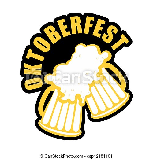 oktoberfest beer mugs clink logo drinking alcohol sign vector rh canstockphoto com  free oktoberfest clip art borders