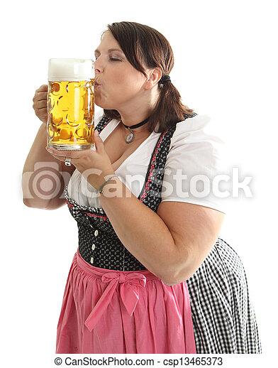 enorme sconto 67a33 47a1b oktoberfest, dirndl, vestito, bavarese, tradizionale, birra, baciare,  ragazza, tazza