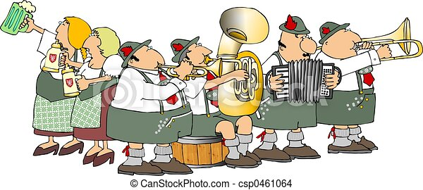 oktoberfest this illustration depicts a german band and beer maidens rh canstockphoto com oktoberfest clipart free download free oktoberfest clipart border