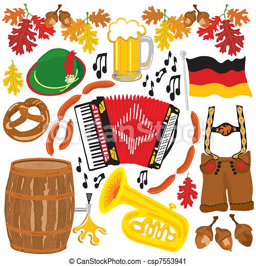 oktoberfest, elementi, festa, clipart - csp7553941