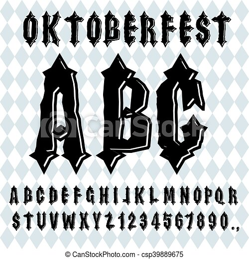 Ancient Gothic Alphabet Vintage Typography Old Letters ABC For National