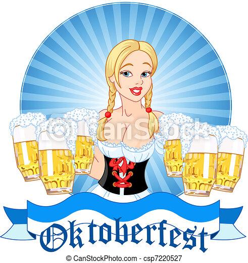 Oktoberfest girl serving beer - csp7220527