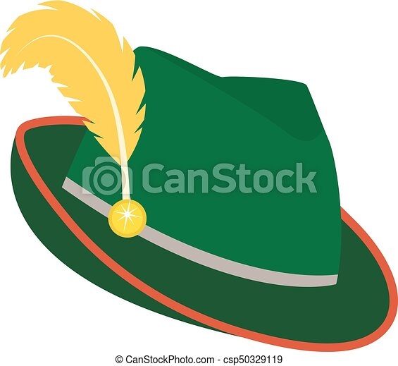 d1523375 Oktoberfest Hat Icon Flat Style. Isolated On White Background. Green  National German Hat. Vector