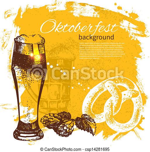 oktoberfest, illustration., årgång, hand, bakgrund., öl, plaska, design, klick, oavgjord, retro - csp14281695