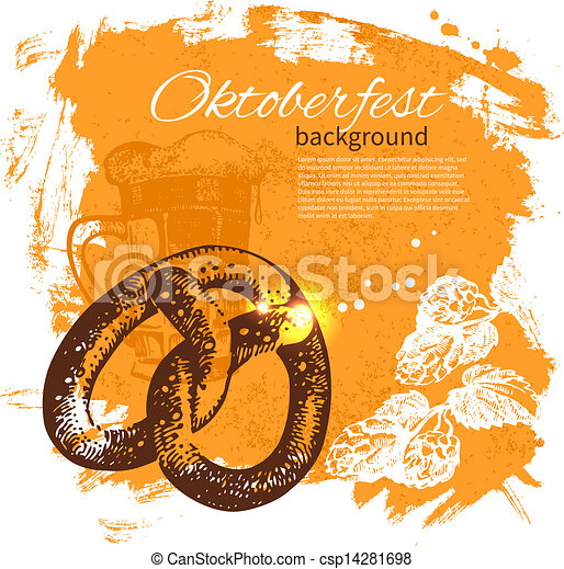 oktoberfest, illustration., årgång, hand, bakgrund., öl, plaska, design, klick, oavgjord, retro - csp14281698