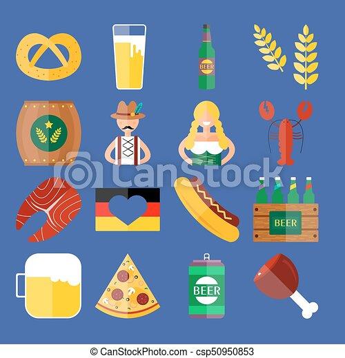 Oktoberfest Satz Wohnung Lebensmittel Bier Icons Vektor Flasche Getrãnke