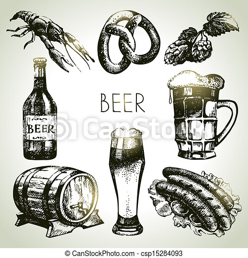 Oktoberfest set of beer. Hand drawn illustrations  - csp15284093