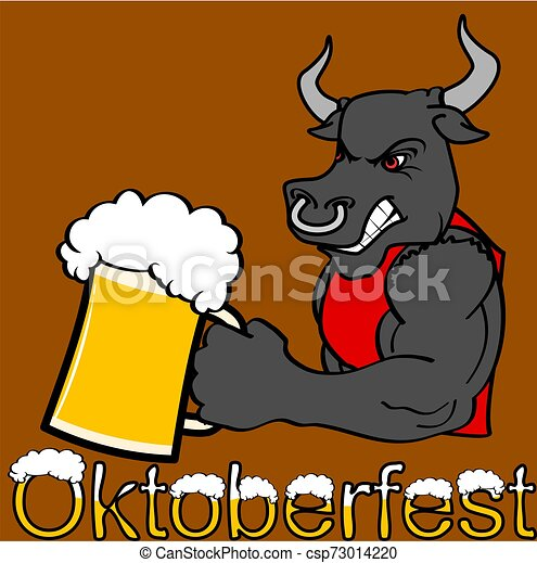 oktoberfest strong bull cartoon sticker - csp73014220