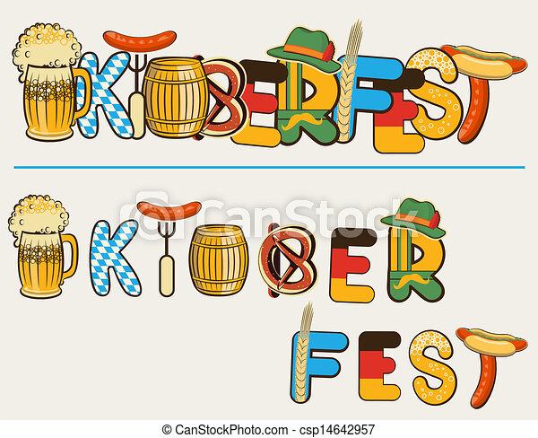 oktoberfest, texte, illustration, isolé, lettersl., vecteur, bière, conception, blanc - csp14642957