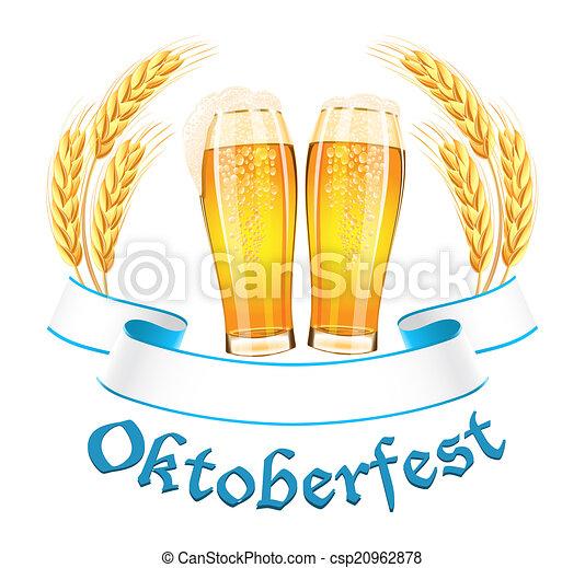 Estandarte Oktoberfest con dos vasos de cerveza y orejas de trigo - csp20962878