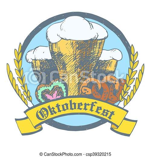 oktoberfest vector illustration with beer glasses pretzels rh canstockphoto com oktoberfest clip art vector oktoberfest clipart free