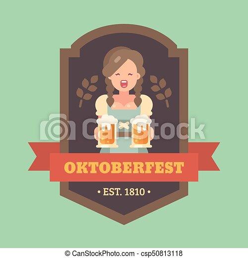 Oktoberfest Wohnung Fest Banner Mugs Zwei Abbildung Mädchen Bier Handwerk Besitz Abzeichen