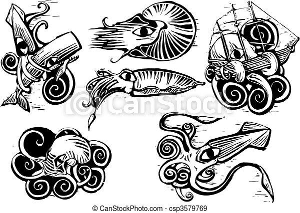 oktopus, tintenfisch, gruppe - csp3579769