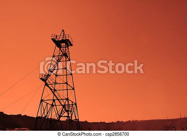 olaj, baku, -, azerbajdzsán, fúrótorony, napnyugta, közben - csp2856700