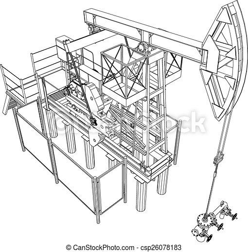 olaj, vakolás, pumpa, vektor, jack., 3 - csp26078183