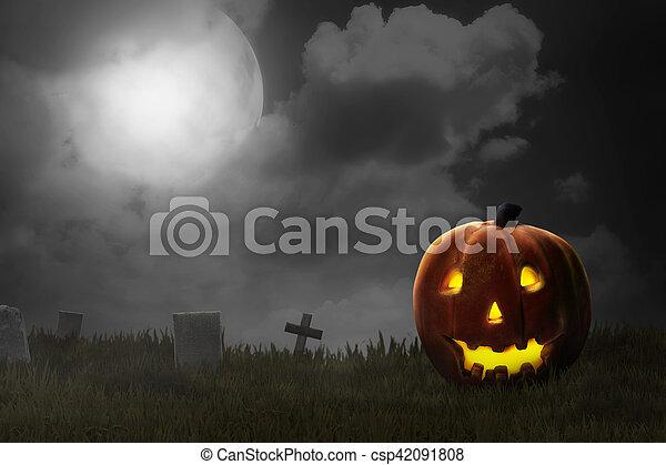 Jack O'lantern en el cementerio - csp42091808