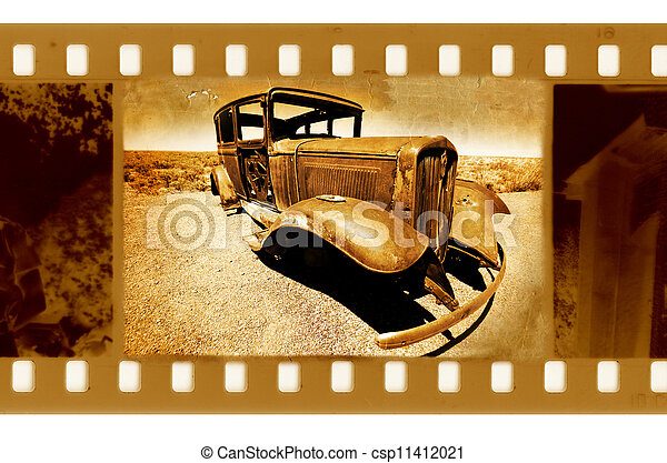 old 35mm frame photo with american retro car in the desert - csp11412021