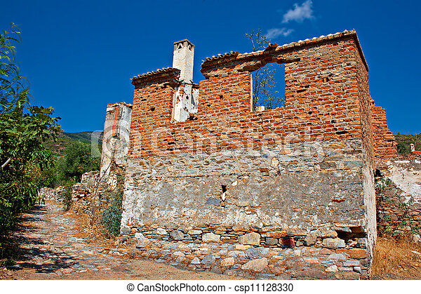 Old abandoned Greek/Turkish village of Doganbey, Turkey - csp11128330