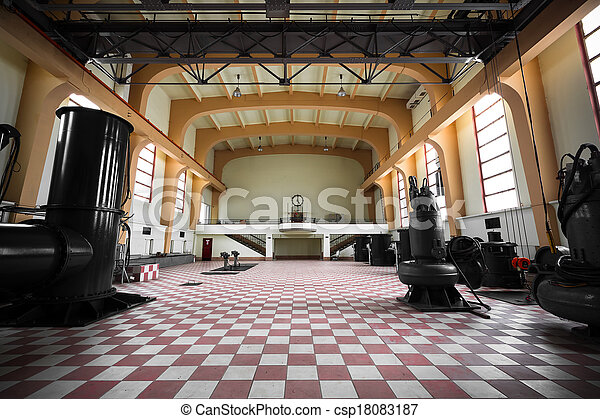 old abandoned industrial building empty interior - csp18083187