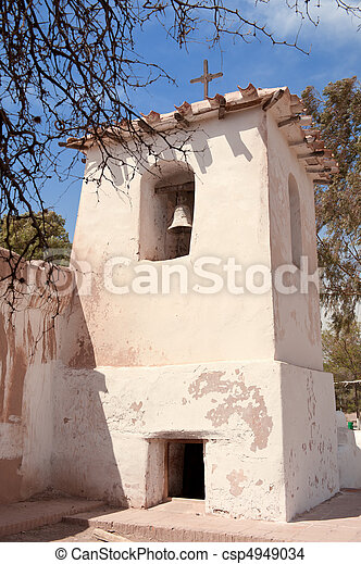 Old adobe church in the countryside of Argentina. - csp4949034
