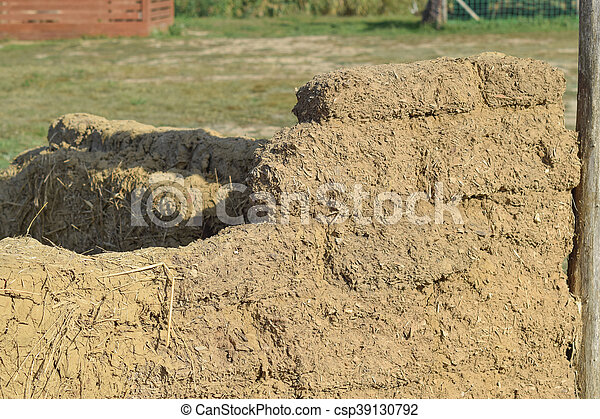 Old adobe wall closeup in sunny day. sample construction of... stock ...