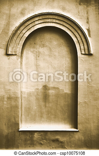 Old aged plastered faux arch false fake window stucco frame background copy space, light dark beige sepia texture - csp10075108