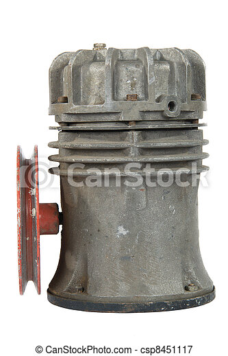 Old air compressor with pulley (isolated) - csp8451117