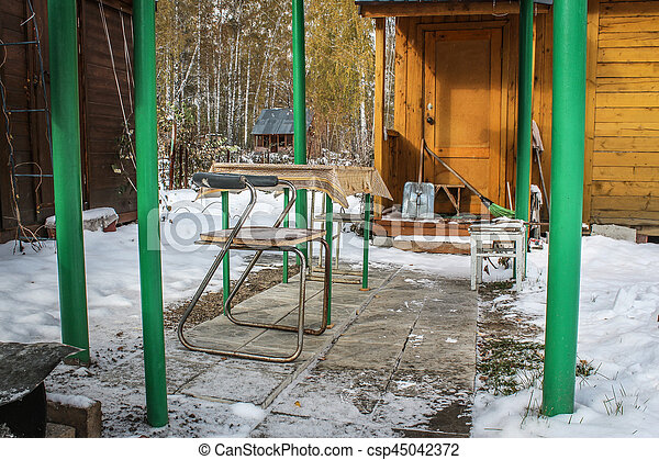 Old alcove in the yard Russian country house - csp45042372