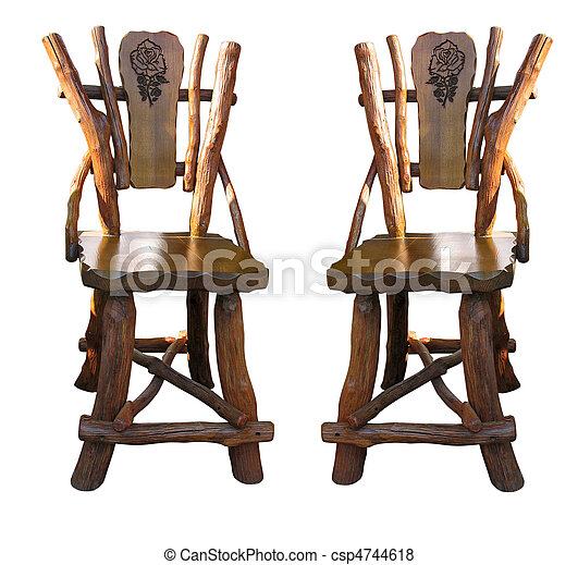 Old antique wooden handwork chairs isolated over white - csp4744618
