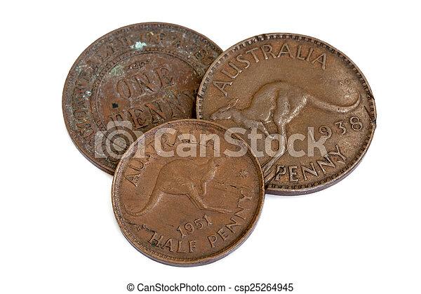 Old Australian Pennies Isolated on White - csp25264945