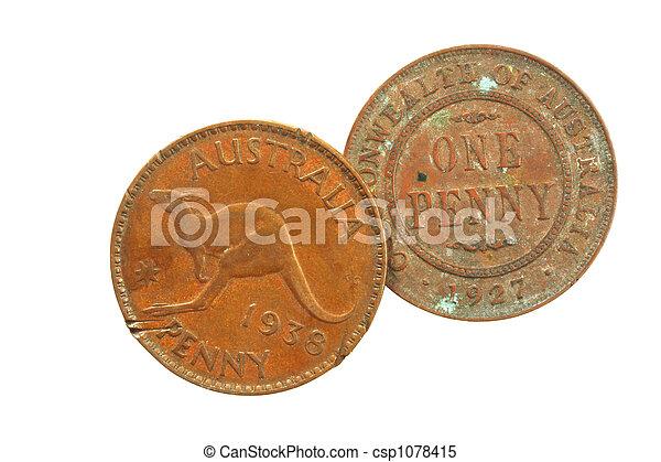 Old Australian Pennies - csp1078415
