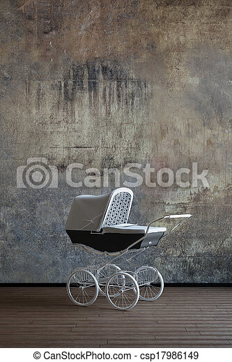 Old baby stroller - csp17986149
