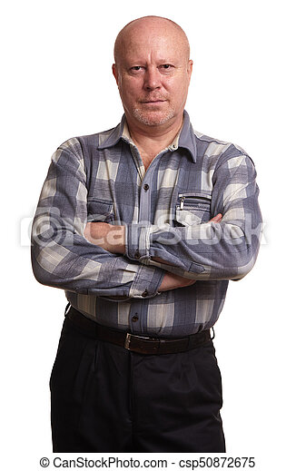 old bald man with hands folded isolated - csp50872675