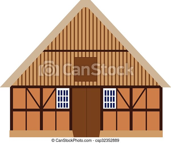 Old Barn Old Wooden Barn Vector Isolated Farm House Barn Door
