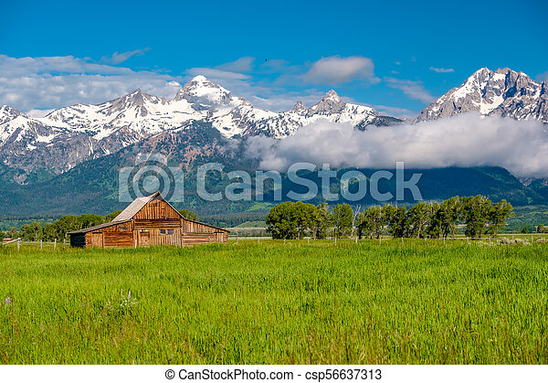 Old barn in Grand Teton Mountains - csp56637313