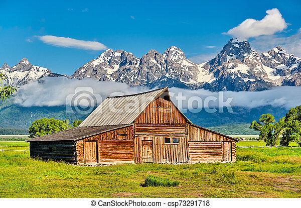 Old barn in Grand Teton Mountains - csp73291718