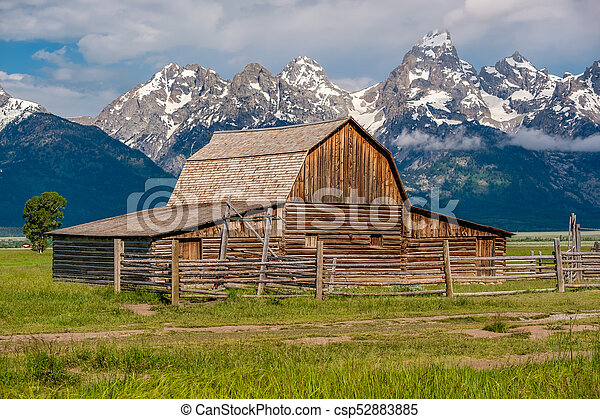 Old barn in Grand Teton Mountains - csp52883885
