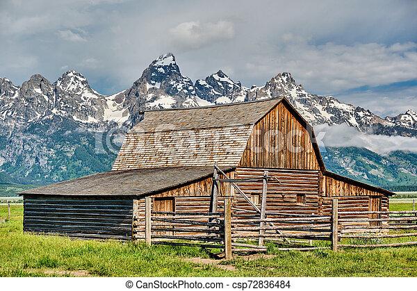 Old barn in Grand Teton Mountains - csp72836484