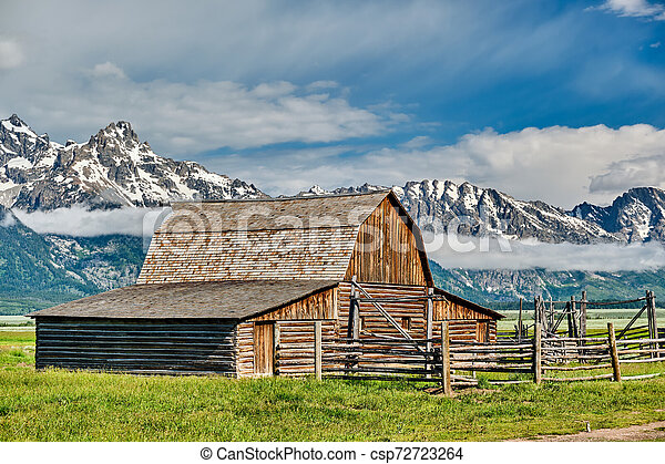 Old barn in Grand Teton Mountains - csp72723264