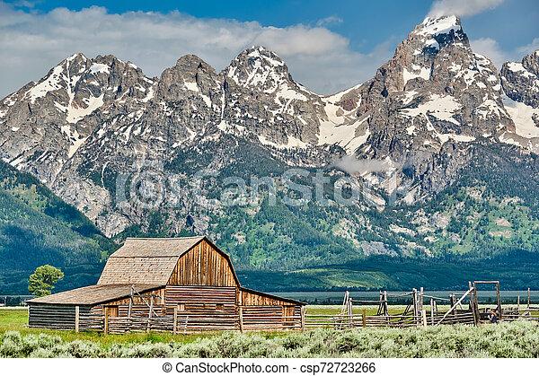 Old barn in Grand Teton Mountains - csp72723266
