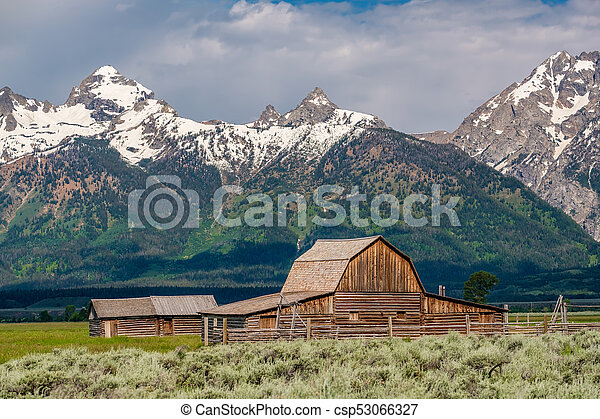 Old barn in Grand Teton Mountains - csp53066327